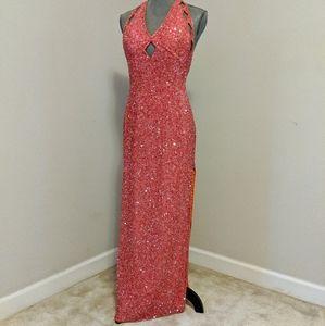 Scala Silk Sequin & Beaded Halter Peekaboo Dress